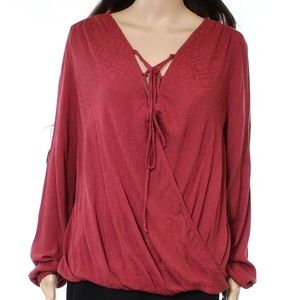 Lush red lace up surplice blouse